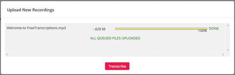 Image of the transcribed mp3 file at 100% completion.